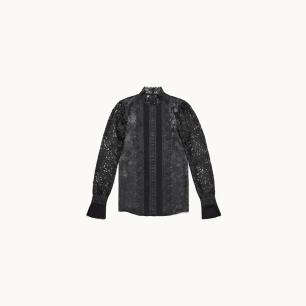 Blusa de encaje negra